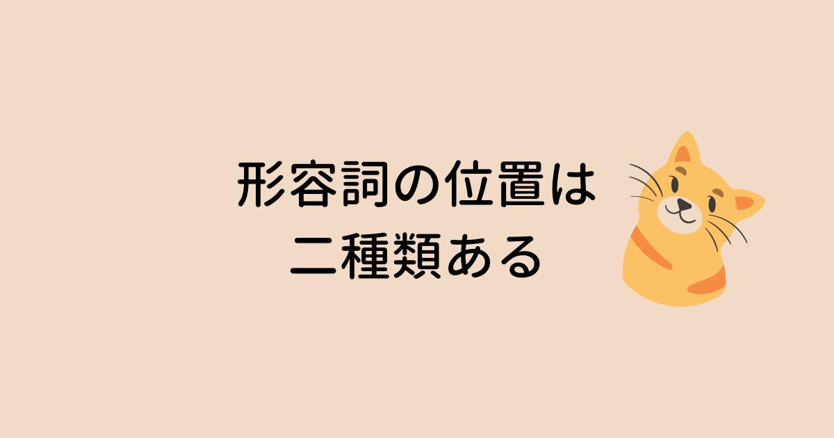 形容詞の位置は2種類ある