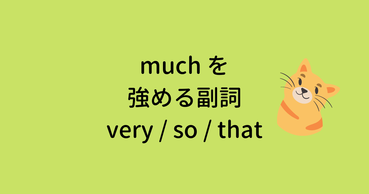 much を強める副詞 very / so / that