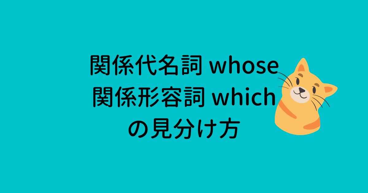 関係代名詞 whose 関係形容詞 which の見分け方